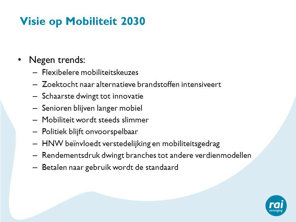Visie op Mobiliteit 2030 Negen trends: – Flexibelere mobiliteitskeuzes – Zoektocht naar alternatieve brandstoffen intensiveert – Schaarste dwingt tot innovatie – Senioren blijven langer mobiel – Mobiliteit wordt steeds slimmer – Politiek blijft onvoorspelbaar – HNW beïnvloedt verstedelijking en mobiliteitsgedrag – Rendementsdruk dwingt branches tot andere verdienmodellen – Betalen naar gebruik wordt de standaard