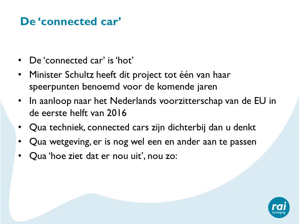 De 'connected car' De 'connected car' is 'hot' Minister Schultz heeft dit project tot één van haar speerpunten benoemd voor de komende jaren In aanloo