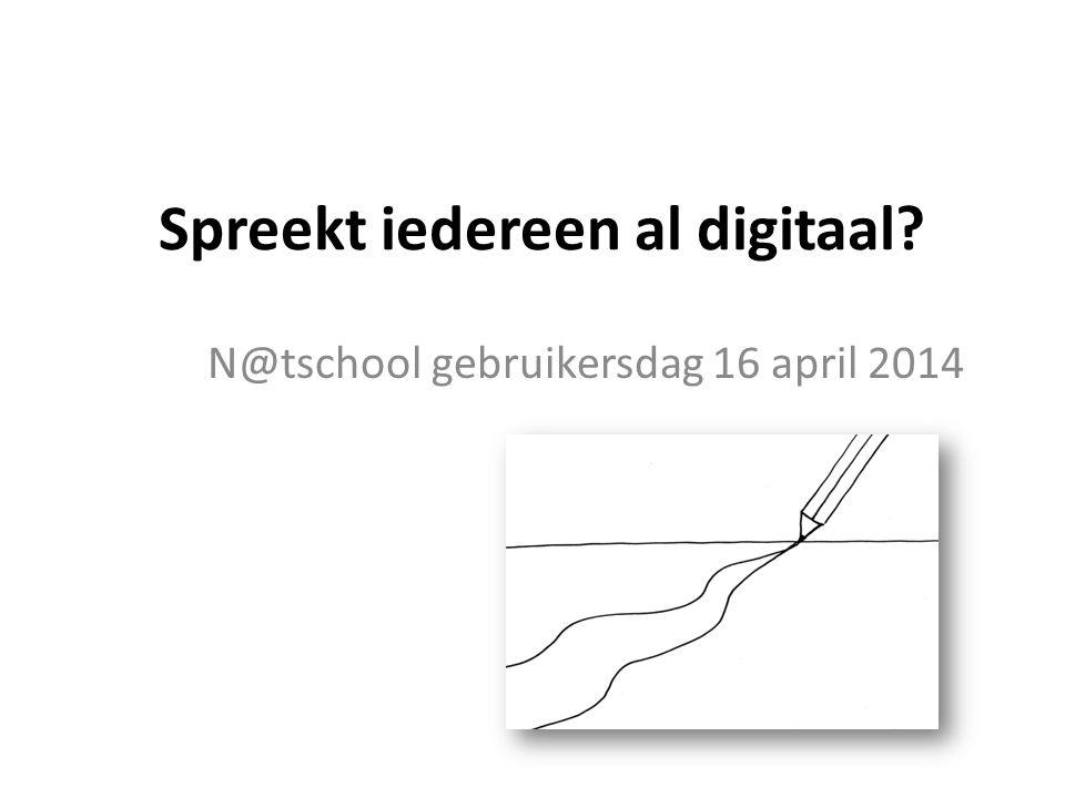 Spreekt iedereen al digitaal N@tschool gebruikersdag 16 april 2014