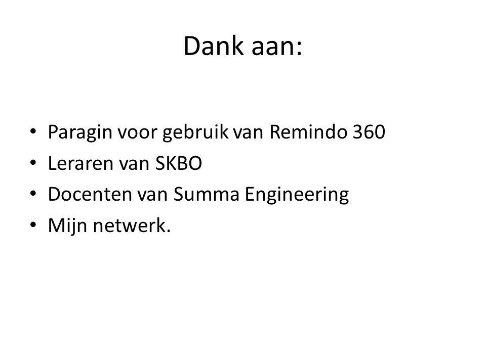 Dank aan: Paragin voor gebruik van Remindo 360 Leraren van SKBO Docenten van Summa Engineering Mijn netwerk.