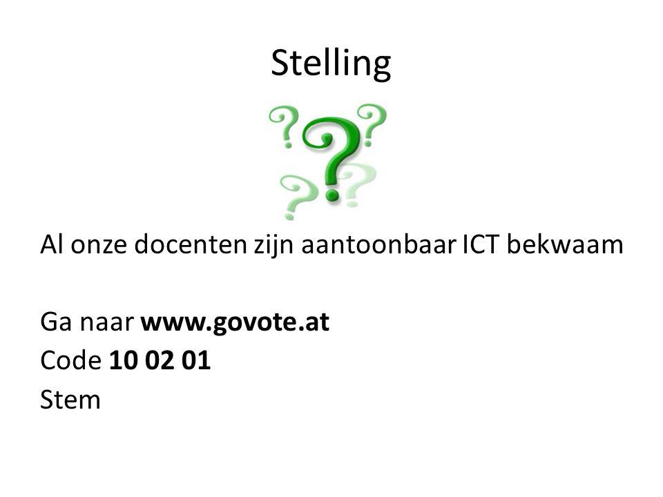 Stelling Al onze docenten zijn aantoonbaar ICT bekwaam Ga naar www.govote.at Code 10 02 01 Stem