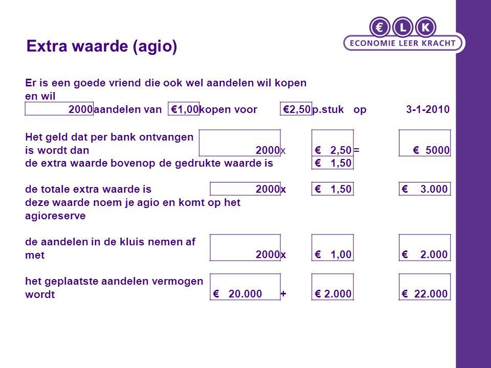 Extra waarde (agio) Er is een goede vriend die ook wel aandelen wil kopen en wil 2000aandelen van €1,00kopen voor €2,50p.stukop3-1-2010 Het geld dat p
