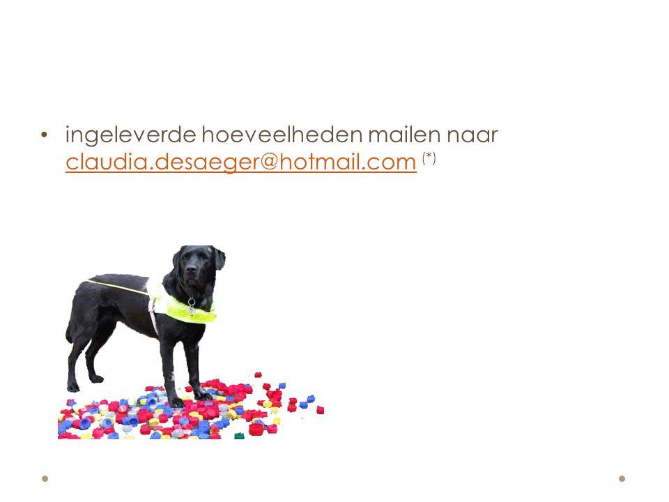 ingeleverde hoeveelheden mailen naar claudia.desaeger@hotmail.com (*) claudia.desaeger@hotmail.com