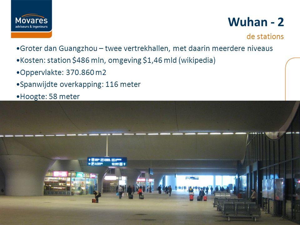 Groter dan Guangzhou – twee vertrekhallen, met daarin meerdere niveaus Kosten: station $486 mln, omgeving $1,46 mld (wikipedia) Oppervlakte: 370.860 m2 Spanwijdte overkapping: 116 meter Hoogte: 58 meter Wuhan - 2 de stations