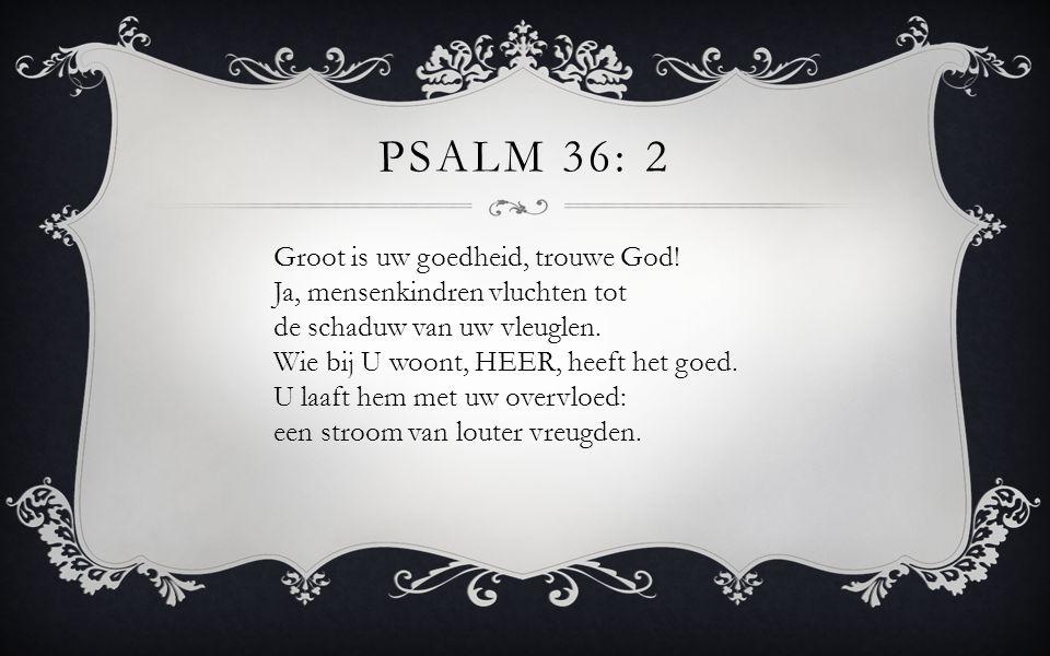 Groot is uw goedheid, trouwe God! Ja, mensenkindren vluchten tot de schaduw van uw vleuglen. Wie bij U woont, HEER, heeft het goed. U laaft hem met uw