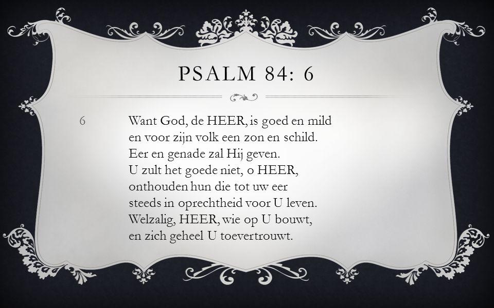 6Want God, de HEER, is goed en mild en voor zijn volk een zon en schild. Eer en genade zal Hij geven. U zult het goede niet, o HEER, onthouden hun die