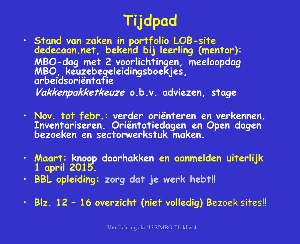 Voorlichting okt '13 VMBO TL klas 4 Tijdpad Stand van zaken in portfolio LOB-site dedecaan.net, bekend bij leerling (mentor): MBO-dag met 2 voorlichti