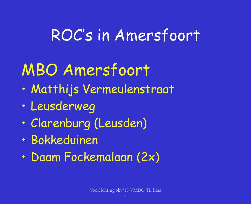 ROC's in Amersfoort MBO Amersfoort Matthijs Vermeulenstraat Leusderweg Clarenburg (Leusden) Bokkeduinen Daam Fockemalaan (2x) Voorlichting okt '13 VMB