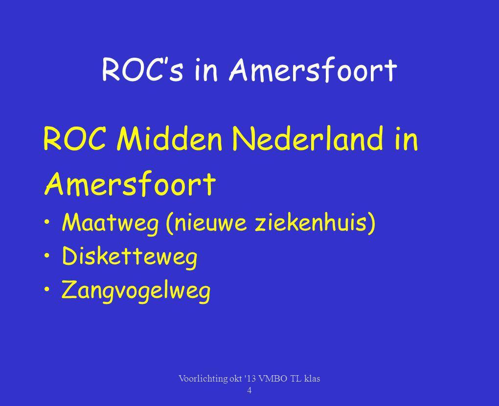 ROC's in Amersfoort ROC Midden Nederland in Amersfoort Maatweg (nieuwe ziekenhuis) Disketteweg Zangvogelweg Voorlichting okt '13 VMBO TL klas 4