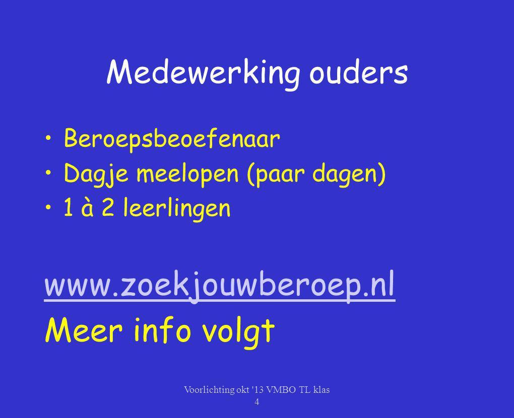 Medewerking ouders Beroepsbeoefenaar Dagje meelopen (paar dagen) 1 à 2 leerlingen www.zoekjouwberoep.nl Meer info volgt Voorlichting okt '13 VMBO TL k