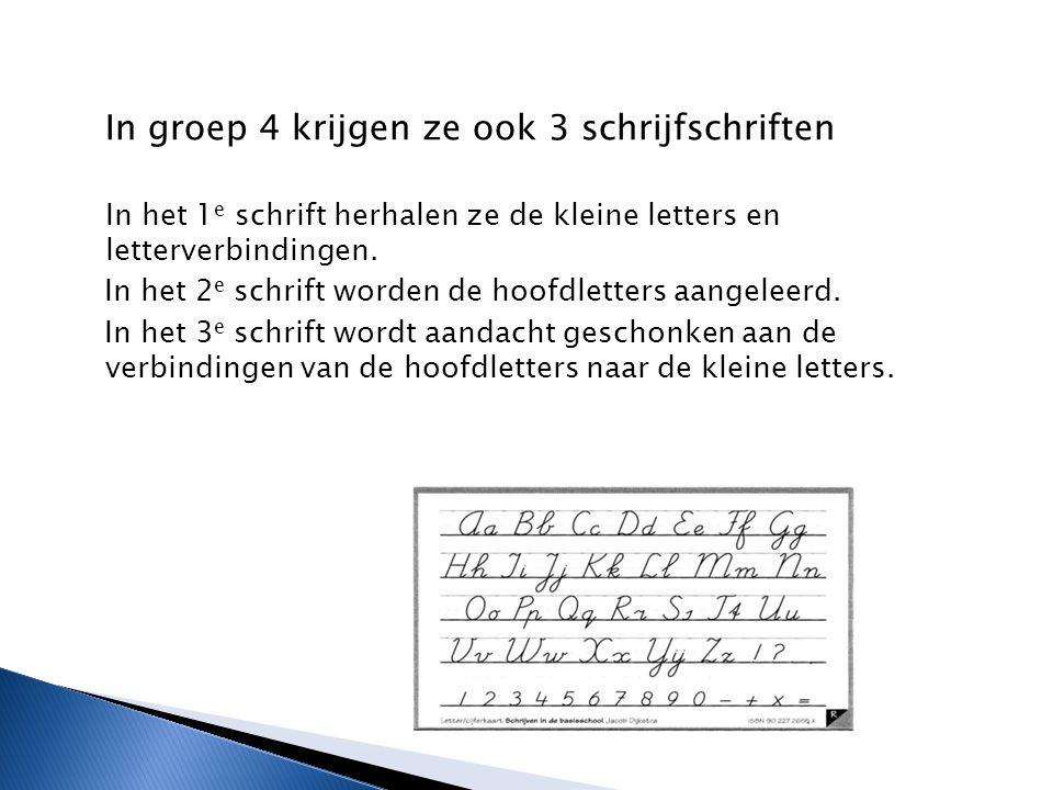 In groep 4 krijgen ze ook 3 schrijfschriften In het 1 e schrift herhalen ze de kleine letters en letterverbindingen.