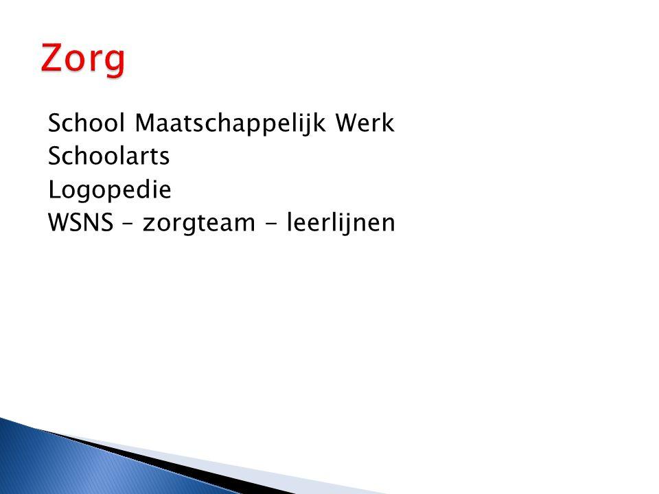 School Maatschappelijk Werk Schoolarts Logopedie WSNS – zorgteam - leerlijnen