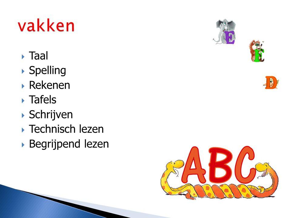  Taal  Spelling  Rekenen  Tafels  Schrijven  Technisch lezen  Begrijpend lezen