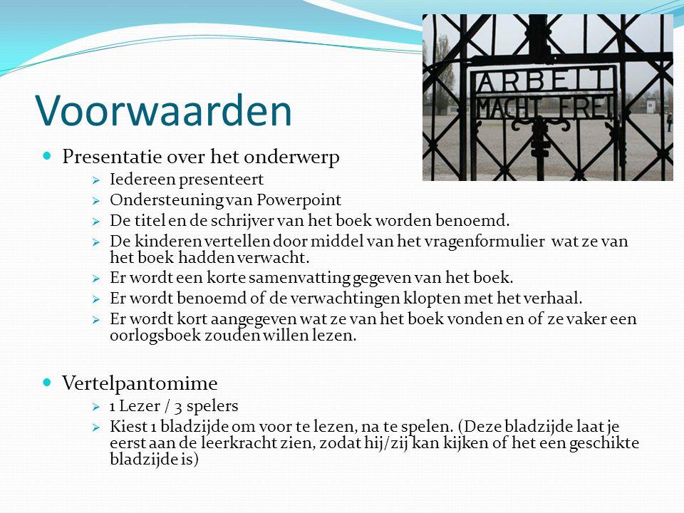 Voorwaarden Presentatie over het onderwerp  Iedereen presenteert  Ondersteuning van Powerpoint  De titel en de schrijver van het boek worden benoem
