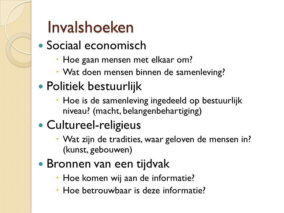 Invalshoeken Sociaal economisch  Hoe gaan mensen met elkaar om?  Wat doen mensen binnen de samenleving? Politiek bestuurlijk  Hoe is de samenleving