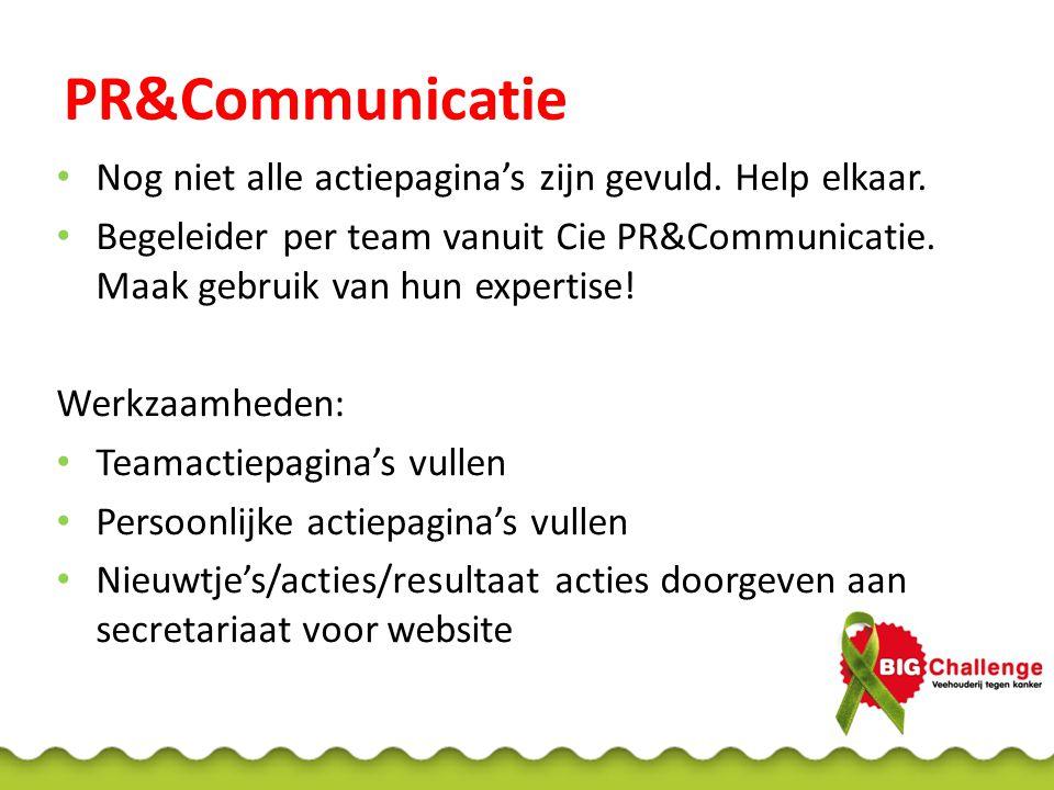PR&Communicatie Nog niet alle actiepagina's zijn gevuld.