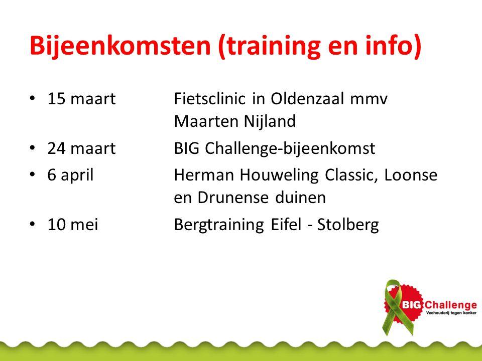 Bijeenkomsten (training en info) 15 maartFietsclinic in Oldenzaal mmv Maarten Nijland 24 maartBIG Challenge-bijeenkomst 6 aprilHerman Houweling Classic, Loonse en Drunense duinen 10 meiBergtraining Eifel - Stolberg