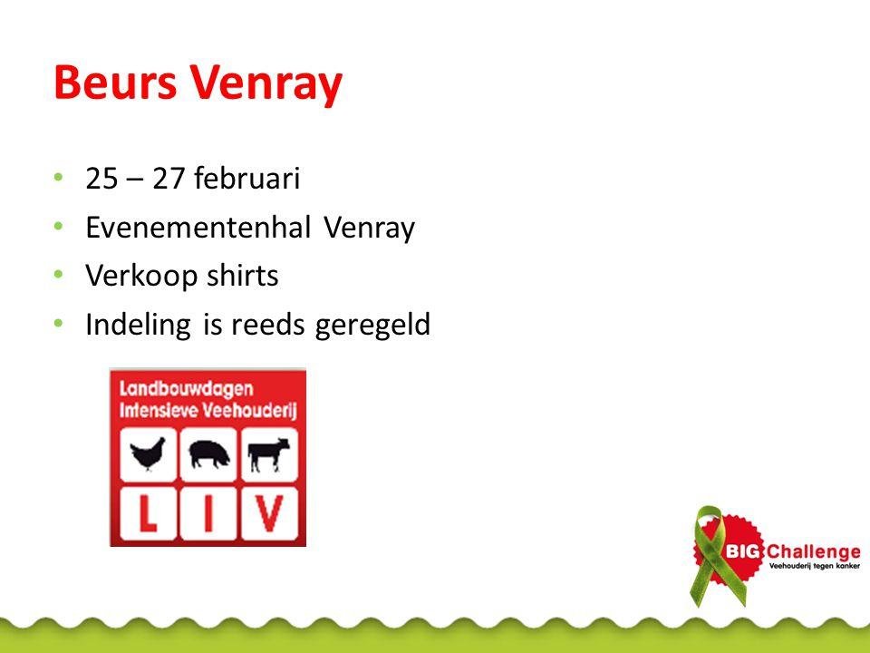 Beurs Venray 25 – 27 februari Evenementenhal Venray Verkoop shirts Indeling is reeds geregeld