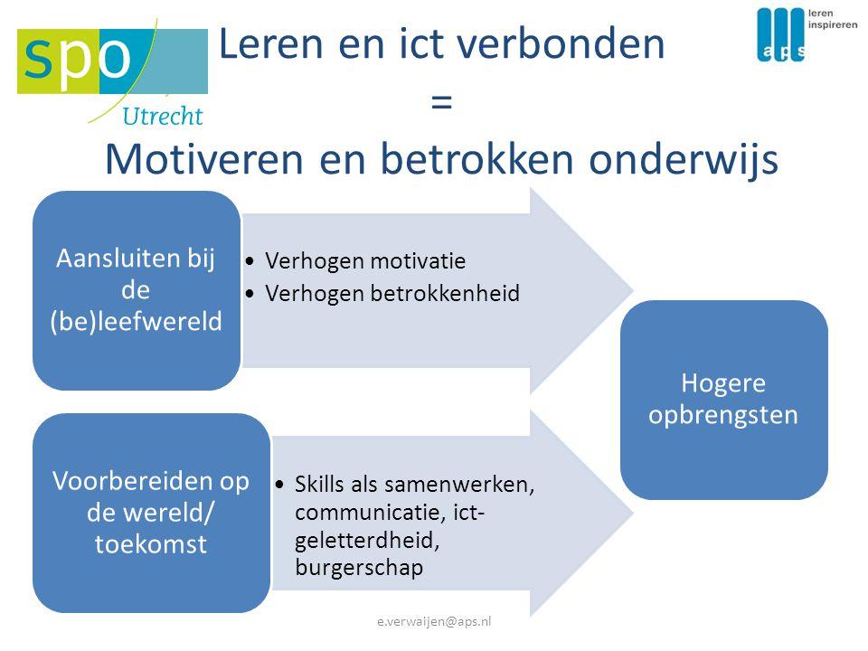 Leren en ict verbonden = Motiveren en betrokken onderwijs Verhogen motivatie Verhogen betrokkenheid Aansluiten bij de (be)leefwereld Skills als samenwerken, communicatie, ict- geletterdheid, burgerschap Voorbereiden op de wereld/ toekomst Hogere opbrengsten e.verwaijen@aps.nl