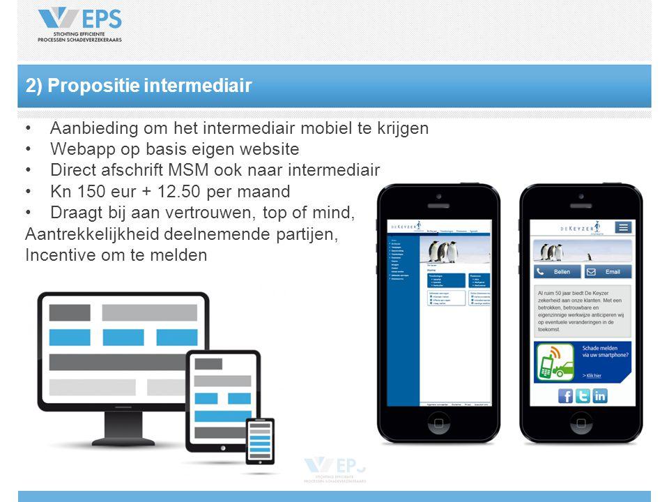 2) Propositie intermediair Aanbieding om het intermediair mobiel te krijgen Webapp op basis eigen website Direct afschrift MSM ook naar intermediair Kn 150 eur + 12.50 per maand Draagt bij aan vertrouwen, top of mind, Aantrekkelijkheid deelnemende partijen, Incentive om te melden