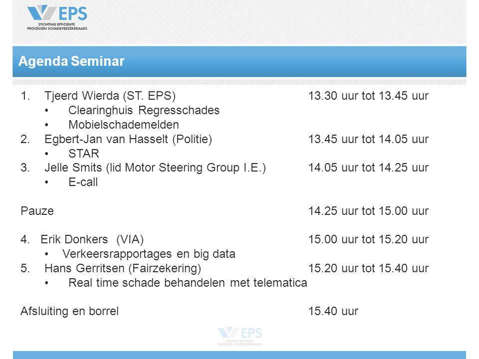 Agenda Seminar 1.Tjeerd Wierda (ST.