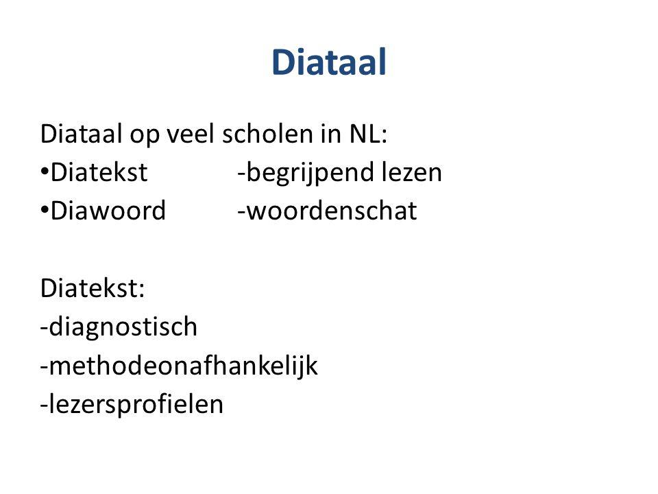 Diataal Diataal op veel scholen in NL: Diatekst -begrijpend lezen Diawoord -woordenschat Diatekst: -diagnostisch -methodeonafhankelijk -lezersprofiele