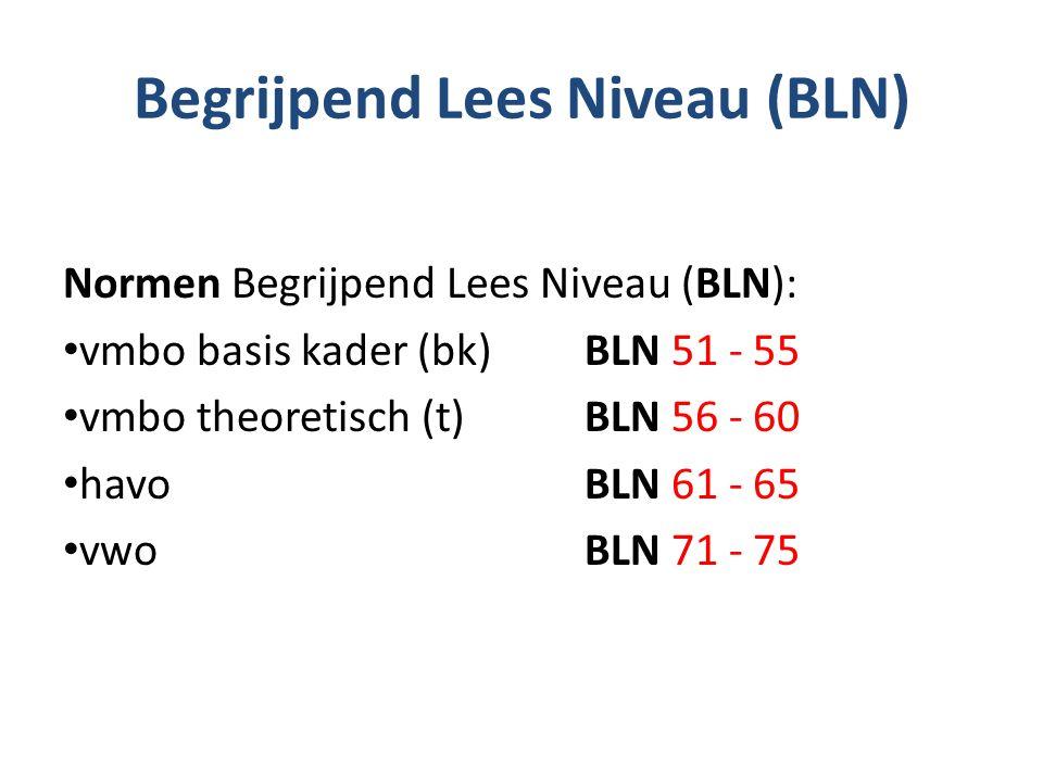 Begrijpend Lees Niveau (BLN) Normen Begrijpend Lees Niveau (BLN): vmbo basis kader (bk)BLN 51 - 55 vmbo theoretisch (t) BLN 56 - 60 havoBLN 61 - 65 vw