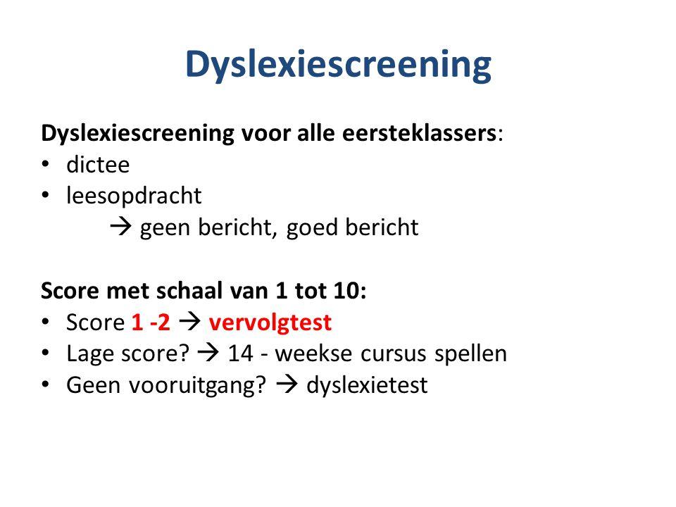 Dyslexiescreening Dyslexiescreening voor alle eersteklassers: dictee leesopdracht  geen bericht, goed bericht Score met schaal van 1 tot 10: Score 1