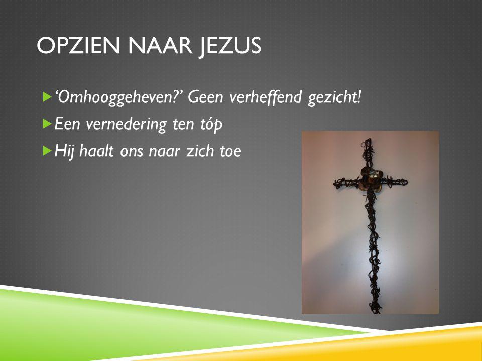 OPZIEN NAAR JEZUS  'Omhooggeheven?' Geen verheffend gezicht.
