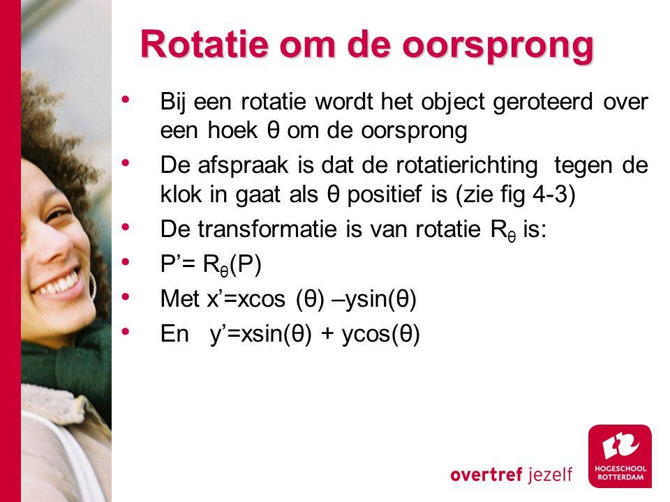 Rotatie om de oorsprong Bij een rotatie wordt het object geroteerd over een hoek θ om de oorsprong De afspraak is dat de rotatierichting tegen de klok