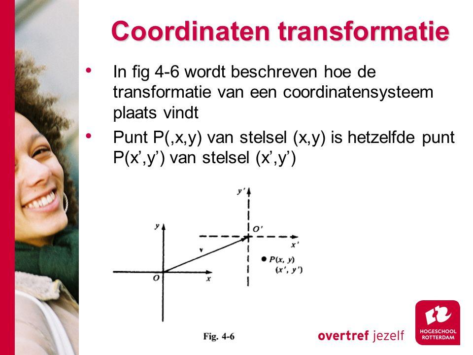 Coordinaten transformatie In fig 4-6 wordt beschreven hoe de transformatie van een coordinatensysteem plaats vindt Punt P(,x,y) van stelsel (x,y) is h