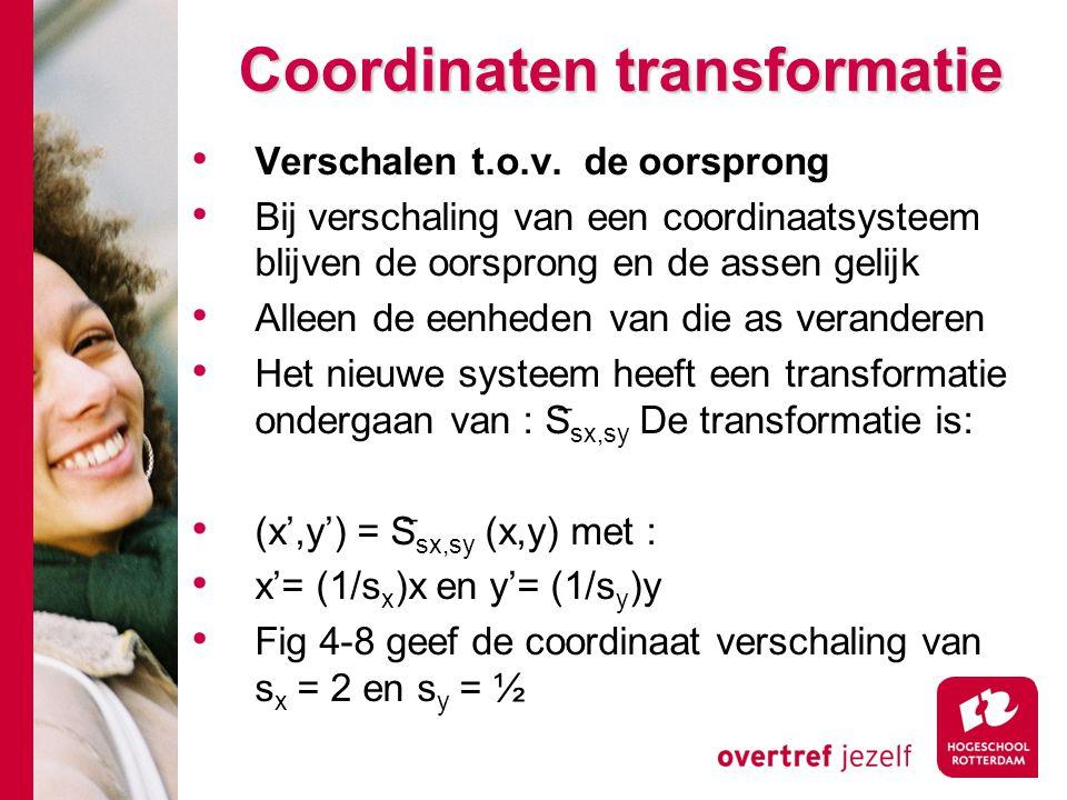 Coordinaten transformatie Verschalen t.o.v. de oorsprong Bij verschaling van een coordinaatsysteem blijven de oorsprong en de assen gelijk Alleen de e