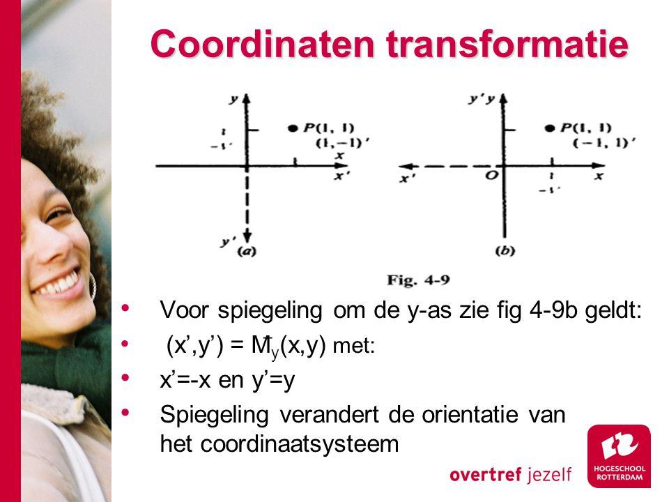 Coordinaten transformatie Voor spiegeling om de y-as zie fig 4-9b geldt: (x',y') = M ̅ y (x,y) met: x'=-x en y'=y Spiegeling verandert de orientatie v