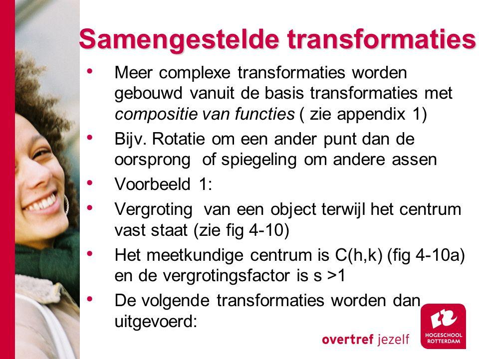 Samengestelde transformaties Meer complexe transformaties worden gebouwd vanuit de basis transformaties met compositie van functies ( zie appendix 1)