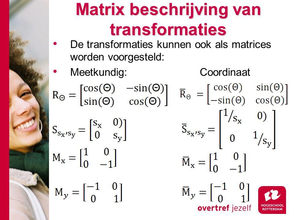 Matrix beschrijving van transformaties De transformaties kunnen ook als matrices worden voorgesteld: Meetkundig:Coordinaat