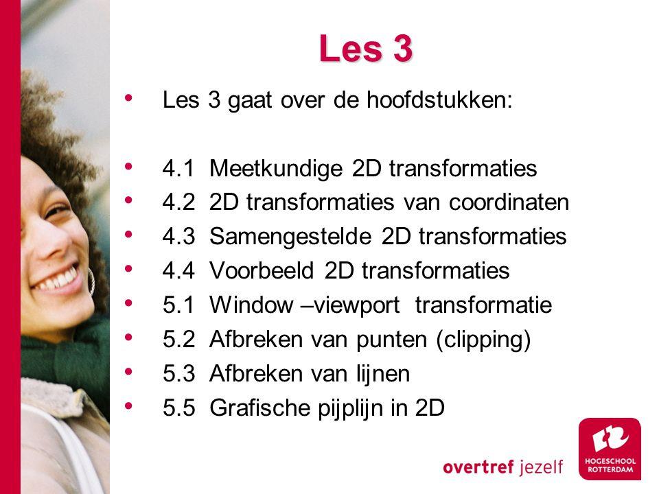 Les 3 Les 3 gaat over de hoofdstukken: 4.1 Meetkundige 2D transformaties 4.2 2D transformaties van coordinaten 4.3 Samengestelde 2D transformaties 4.4
