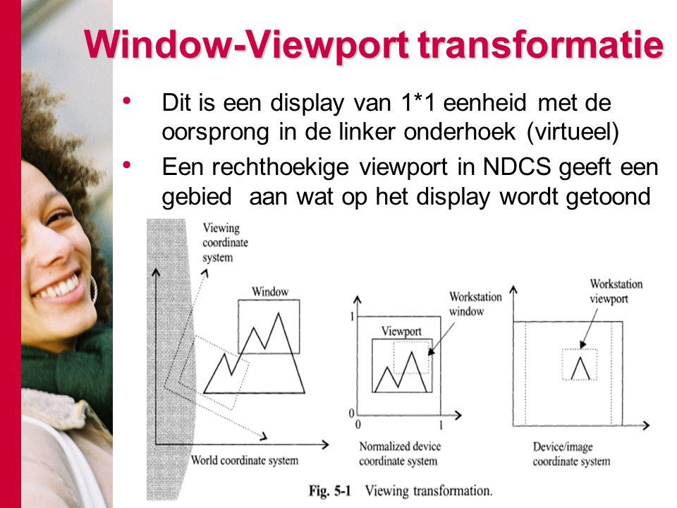 Window-Viewport transformatie Dit is een display van 1*1 eenheid met de oorsprong in de linker onderhoek (virtueel) Een rechthoekige viewport in NDCS