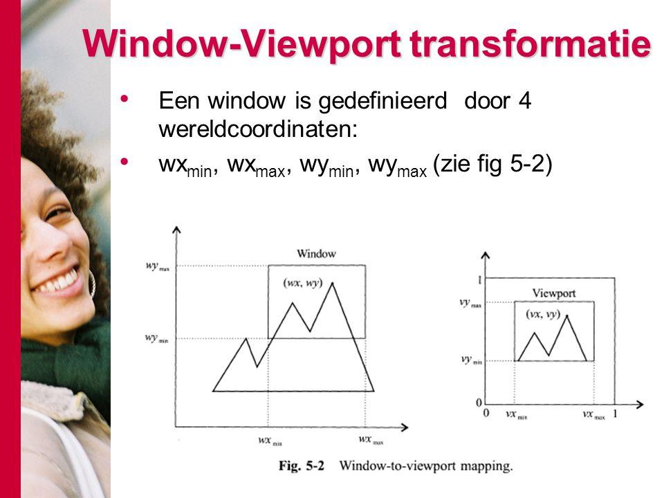 Window-Viewport transformatie Een window is gedefinieerd door 4 wereldcoordinaten: wx min, wx max, wy min, wy max (zie fig 5-2)