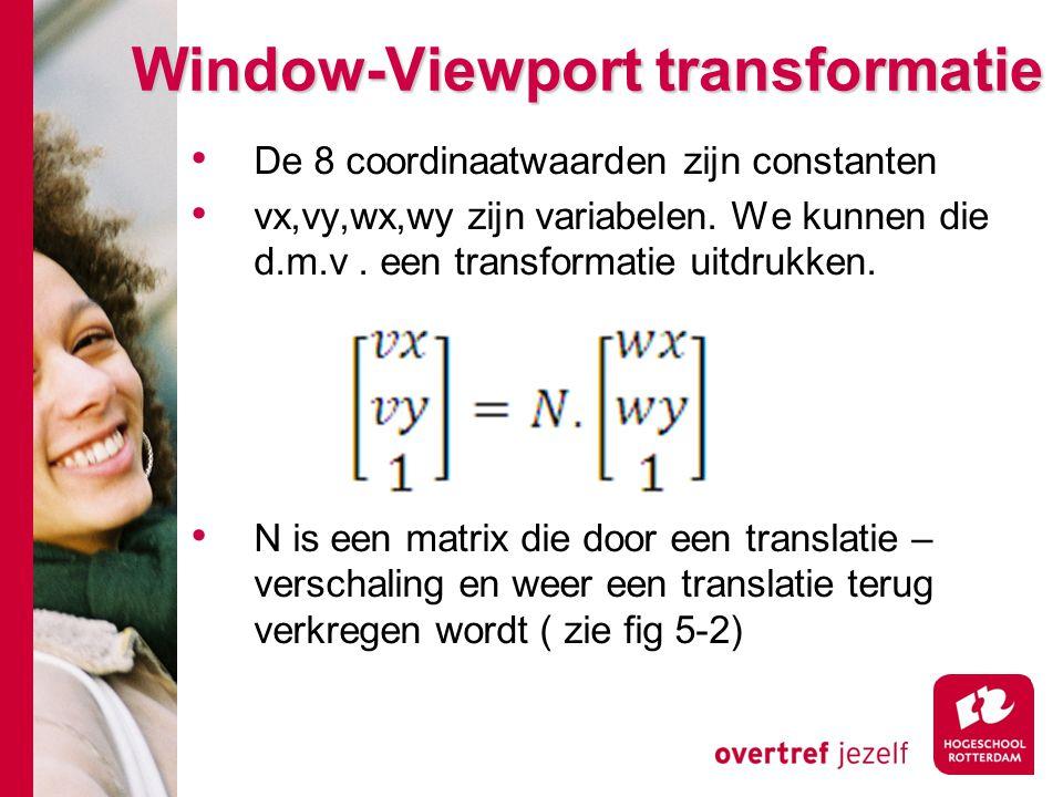 Window-Viewport transformatie De 8 coordinaatwaarden zijn constanten vx,vy,wx,wy zijn variabelen. We kunnen die d.m.v. een transformatie uitdrukken. N