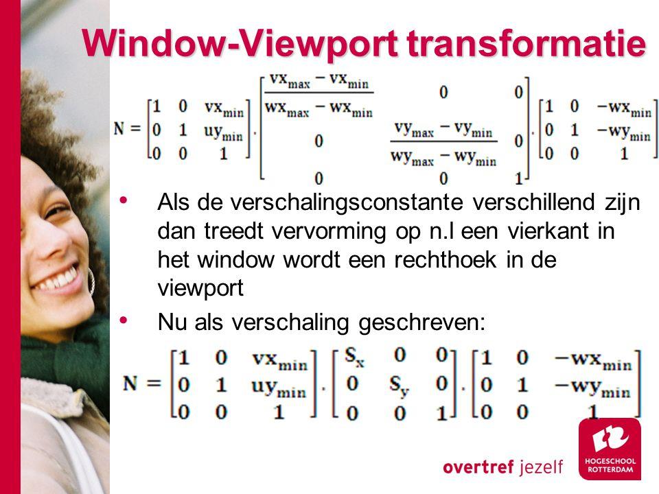 Window-Viewport transformatie Als de verschalingsconstante verschillend zijn dan treedt vervorming op n.l een vierkant in het window wordt een rechtho