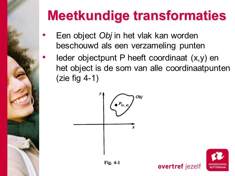 Meetkundige transformaties Een object Obj in het vlak kan worden beschouwd als een verzameling punten Ieder objectpunt P heeft coordinaat (x,y) en het