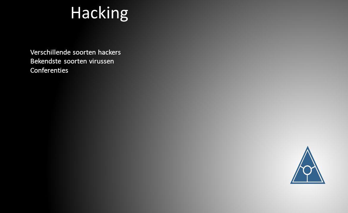 Hacking Verschillende soorten hackers Bekendste soorten virussen Conferenties