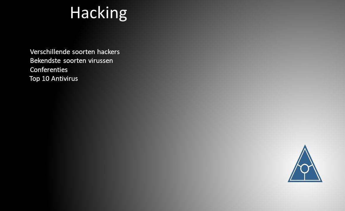 Hacking Verschillende soorten hackers Bekendste soorten virussen Conferenties Top 10 Antivirus