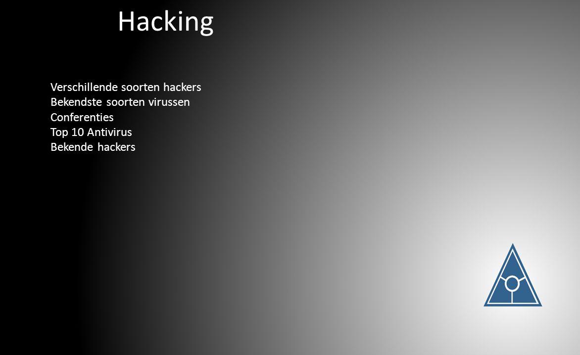 Hacking Verschillende soorten hackers Bekendste soorten virussen Conferenties Top 10 Antivirus Bekende hackers