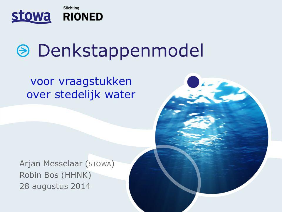 Denkstappenmodel voor vraagstukken over stedelijk water Arjan Messelaar ( STOWA ) Robin Bos (HHNK) 28 augustus 2014