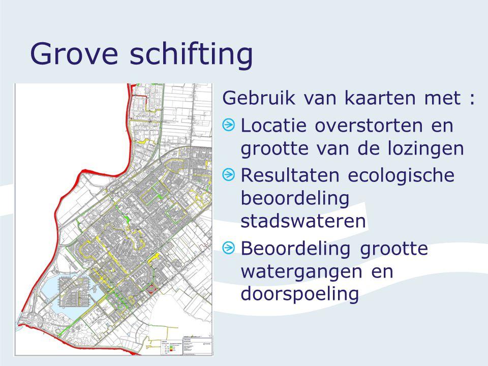 Gebruik van kaarten met : Locatie overstorten en grootte van de lozingen Resultaten ecologische beoordeling stadswateren Beoordeling grootte watergangen en doorspoeling