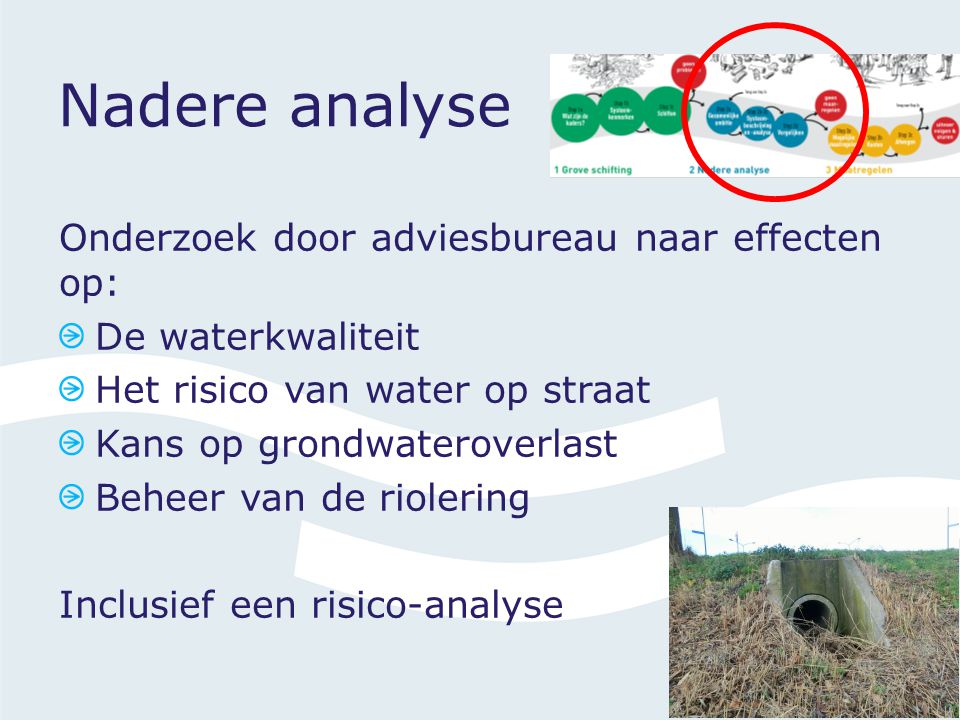 Nadere analyse Onderzoek door adviesbureau naar effecten op: De waterkwaliteit Het risico van water op straat Kans op grondwateroverlast Beheer van de riolering Inclusief een risico-analyse