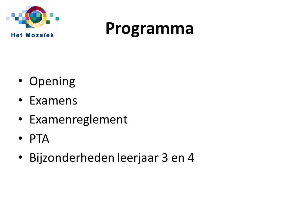 Programma Opening Examens Examenreglement PTA Bijzonderheden leerjaar 3 en 4