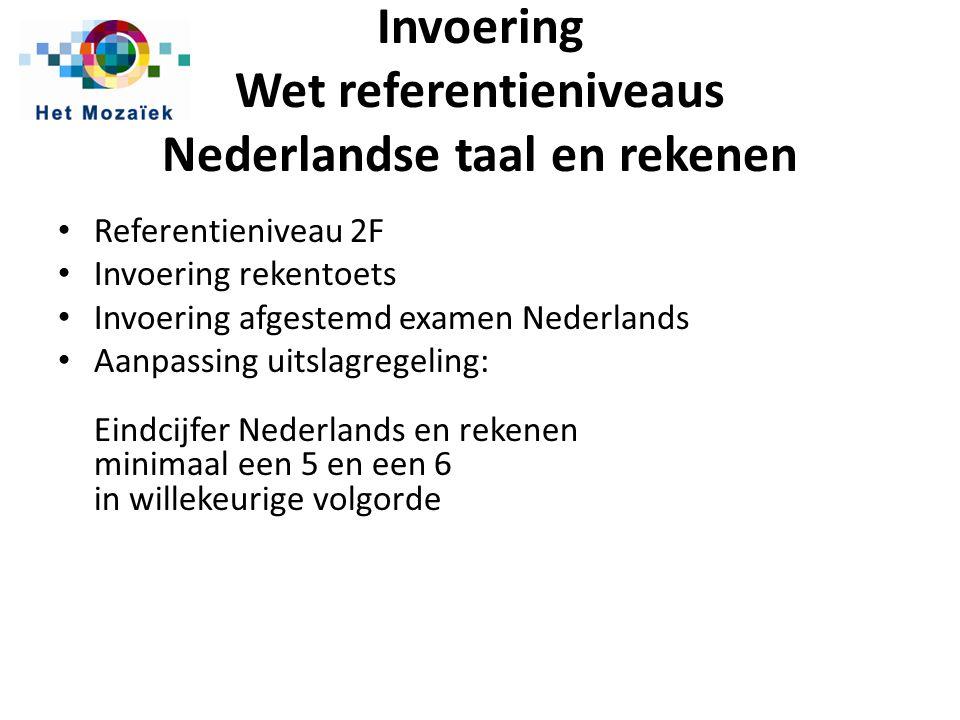 Invoering Wet referentieniveaus Nederlandse taal en rekenen Referentieniveau 2F Invoering rekentoets Invoering afgestemd examen Nederlands Aanpassing