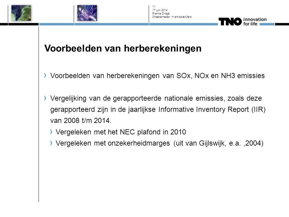 Voorbeelden van herberekeningen Voorbeelden van herberekeningen van SOx, NOx en NH3 emissies Vergelijking van de gerapporteerde nationale emissies, zoals deze gerapporteerd zijn in de jaarlijkse Informative Inventory Report (IIR) van 2008 t/m 2014.
